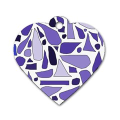 Silly Purples Dog Tag Heart (one Sided)  by FunWithFibro