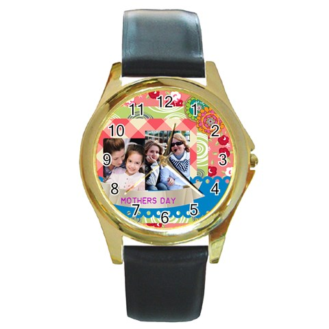 Mothers Day By Mom   Round Gold Metal Watch   H92nv8baju5u   Www Artscow Com Front