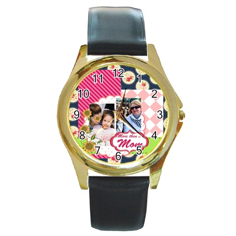 Mothers Day By Mom   Round Gold Metal Watch   Acxl4iglgu2n   Www Artscow Com Front