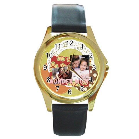 Mothers Day By Mom   Round Gold Metal Watch   Vjhs45uehvca   Www Artscow Com Front