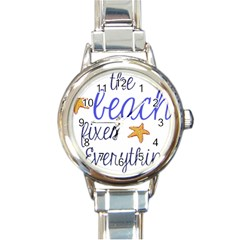 The Beach Fixes Everything Round Italian Charm Watch by OneStopGiftShop