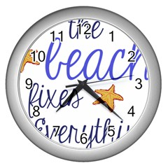 The Beach Fixes Everything Wall Clock (silver) by OneStopGiftShop