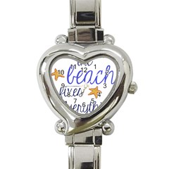 The Beach Fixes Everything Heart Italian Charm Watch  by OneStopGiftShop