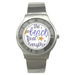 The Beach Fixes Everything Stainless Steel Watch (slim) by OneStopGiftShop