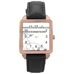 Better To Take Time To Think Rose Gold Leather Watch  by Doudy