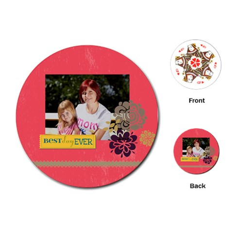 Mothers Day By Mom   Playing Cards (round)   6e37386jstex   Www Artscow Com Front