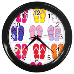 Flip Flop Collage Wall Clock (black) by StuffOrSomething
