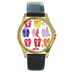 Flip Flop Collage Round Leather Watch (Gold Rim)  by StuffOrSomething