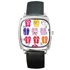 Flip Flop Collage Square Leather Watch by StuffOrSomething