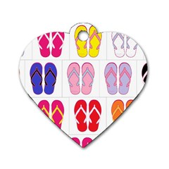 Flip Flop Collage Dog Tag Heart (One Sided)  by StuffOrSomething