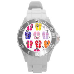 Flip Flop Collage Plastic Sport Watch (large) by StuffOrSomething