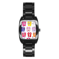 Flip Flop Collage Stainless Steel Barrel Watch by StuffOrSomething