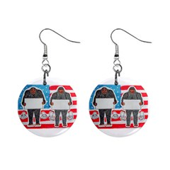 2 Big Foot Text On U S A Mini Button Earrings by creationtruth