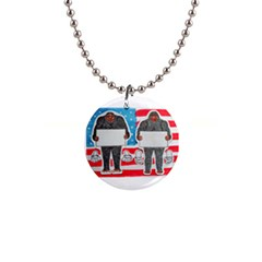2 Big Foot Text On U S A Button Necklace