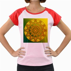 Yellow Green Abstract Wheel Of Fire Women s Cap Sleeve T Shirt (colored)