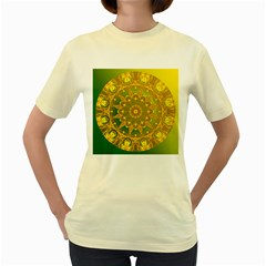 Yellow Green Abstract Wheel Of Fire Women s T Shirt (yellow)