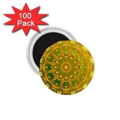 Yellow Green Abstract Wheel Of Fire 1 75  Button Magnet (100 Pack)