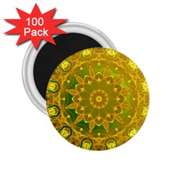 Yellow Green Abstract Wheel Of Fire 2 25  Button Magnet (100 Pack)
