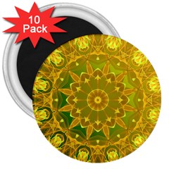 Yellow Green Abstract Wheel Of Fire 3  Button Magnet (10 Pack) by DianeClancy