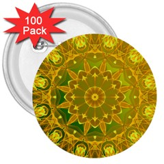 Yellow Green Abstract Wheel Of Fire 3  Button (100 Pack)