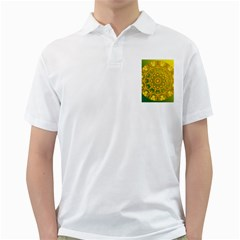 Yellow Green Abstract Wheel Of Fire Men s Polo Shirt (white) by DianeClancy