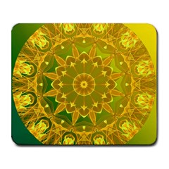Yellow Green Abstract Wheel Of Fire Large Mouse Pad (rectangle) by DianeClancy