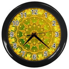 Yellow Green Abstract Wheel Of Fire Wall Clock (black)