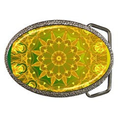 Yellow Green Abstract Wheel Of Fire Belt Buckle (oval)