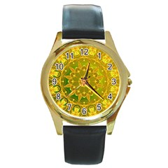 Yellow Green Abstract Wheel Of Fire Round Leather Watch (gold Rim)  by DianeClancy