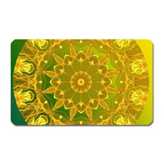 Yellow Green Abstract Wheel Of Fire Magnet (rectangular) by DianeClancy