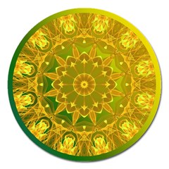Yellow Green Abstract Wheel Of Fire Magnet 5  (round) by DianeClancy