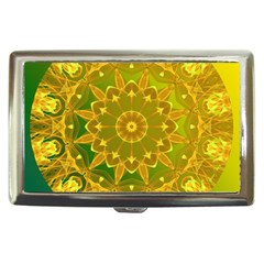 Yellow Green Abstract Wheel Of Fire Cigarette Money Case by DianeClancy