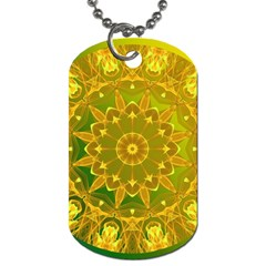 Yellow Green Abstract Wheel Of Fire Dog Tag (two Sided)