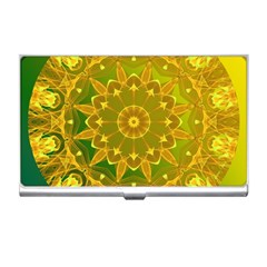 Yellow Green Abstract Wheel Of Fire Business Card Holder by DianeClancy
