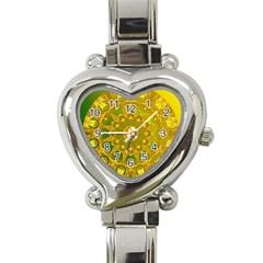Yellow Green Abstract Wheel Of Fire Heart Italian Charm Watch