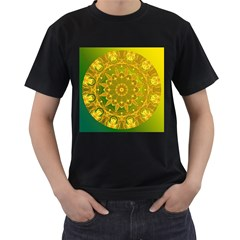 Yellow Green Abstract Wheel Of Fire Men s Two Sided T Shirt (black)