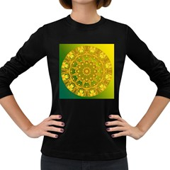 Yellow Green Abstract Wheel Of Fire Women s Long Sleeve T Shirt (dark Colored)