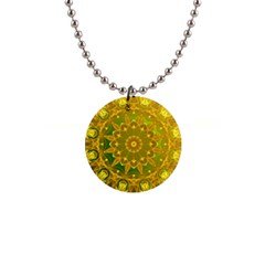 Yellow Green Abstract Wheel Of Fire Button Necklace