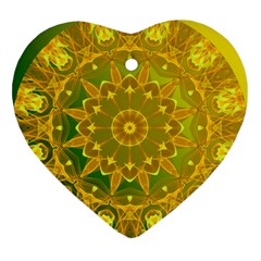 Yellow Green Abstract Wheel Of Fire Heart Ornament (two Sides) by DianeClancy