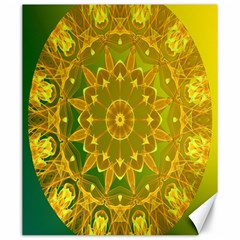 Yellow Green Abstract Wheel Of Fire Canvas 20  X 24  (unframed) by DianeClancy