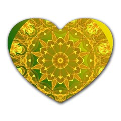 Yellow Green Abstract Wheel Of Fire Mouse Pad (heart) by DianeClancy