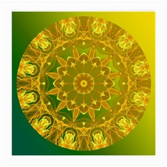 Yellow Green Abstract Wheel Of Fire Glasses Cloth (medium) by DianeClancy