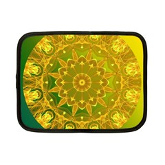 Yellow Green Abstract Wheel Of Fire Netbook Sleeve (small)