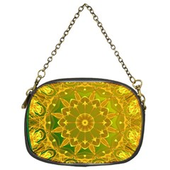 Yellow Green Abstract Wheel Of Fire Chain Purse (one Side)