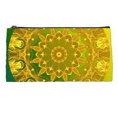 Yellow Green Abstract Wheel Of Fire Pencil Case by DianeClancy
