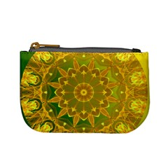 Yellow Green Abstract Wheel Of Fire Coin Change Purse by DianeClancy