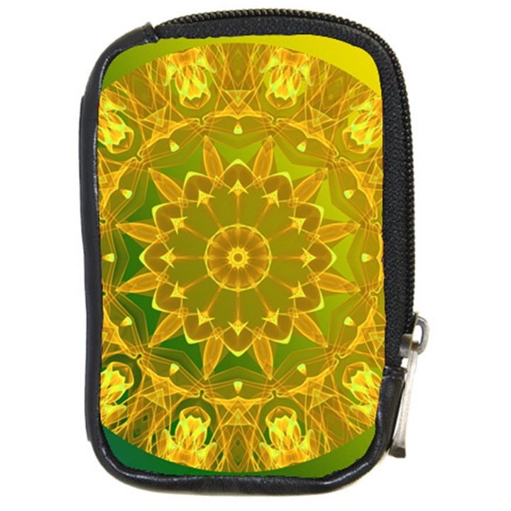 Yellow Green Abstract Wheel Of Fire Compact Camera Leather Case