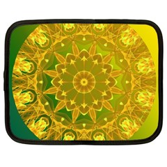 Yellow Green Abstract Wheel Of Fire Netbook Sleeve (xxl) by DianeClancy