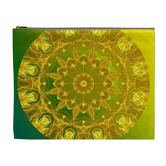 Yellow Green Abstract Wheel Of Fire Cosmetic Bag (xl) by DianeClancy