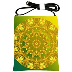 Yellow Green Abstract Wheel Of Fire Shoulder Sling Bag by DianeClancy